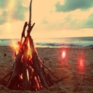 magical bonfire on the beach